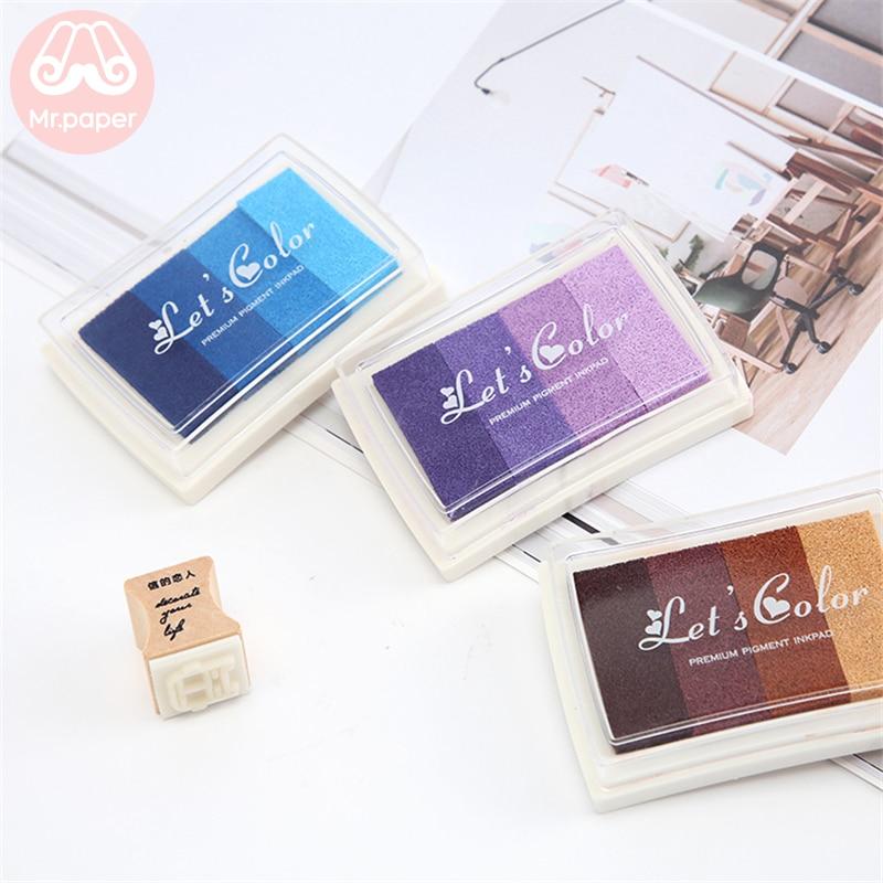 Mr Paper 6 Colors Gradual Change Colorful Short Inkpad Handmade DIY Craft Oil Based Inkpad Rubber Stamps Scrapbooking Inkpad 4