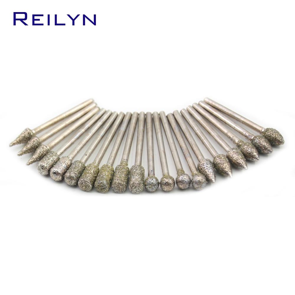 20/pcs 6/Types Grinding Head Shank 3mm Grit #60/#150 Emergy Diamond Abrasive Grinding Bits Abrasive Head Die Grinder/Rotary Tool