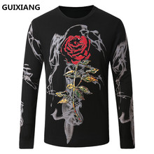 2017 autumn and winter new style men printing woolen sweaters casual knit Men's fashion  Rose pattern woolen sweater