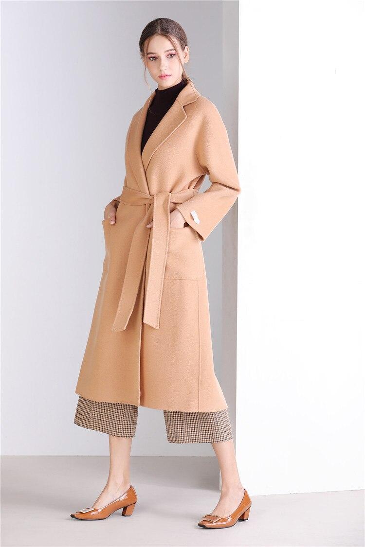 Eupope New Sided Handmade Lapel Lacing Belt Color sólido lana abrigo mujer abrigo 2017 otoño e invierno abrigo Mujer - 4