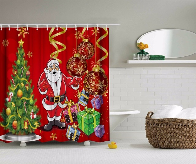 3D Funny Christmas Santa New Year Shower Curtains Polyester ...