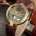 FORSINING классические мужские часы Топ люксовый бренд кожаные турбийонные автоматические механические часы светящиеся стрелки Relogio Masculino