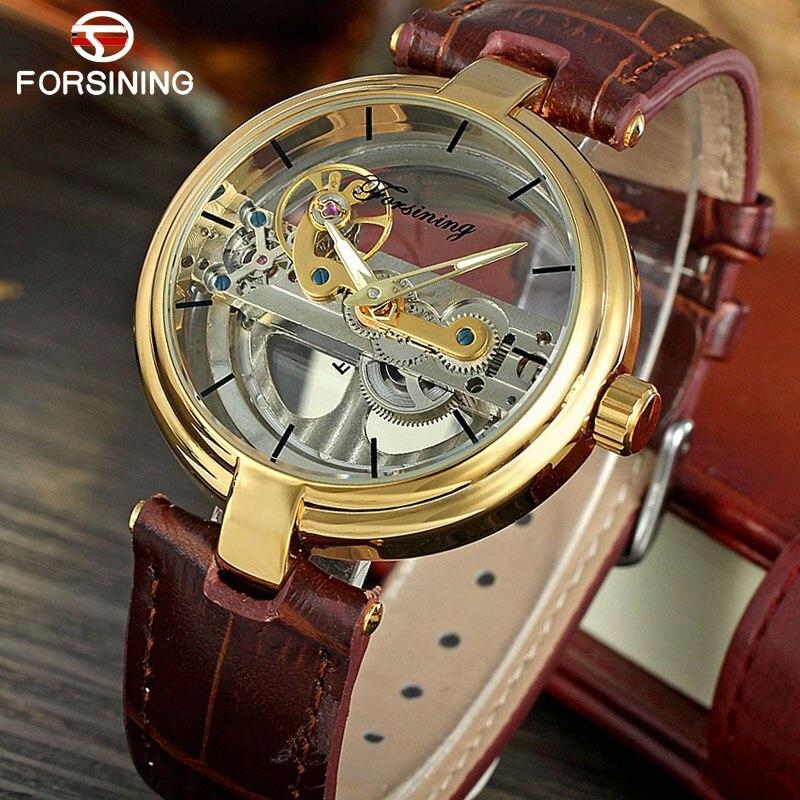 FORSINING классические мужские часы Топ люксовый бренд кожа tourbillion автоматические механические часы светящиеся стрелки Relogio Masculino