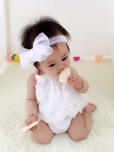 a44358991 Baby Girls romper newborn lace romper with lace headband Ruffled Baby Girl  clothes Baby Girls Clothing Set Kids Jumpsuit Cotton