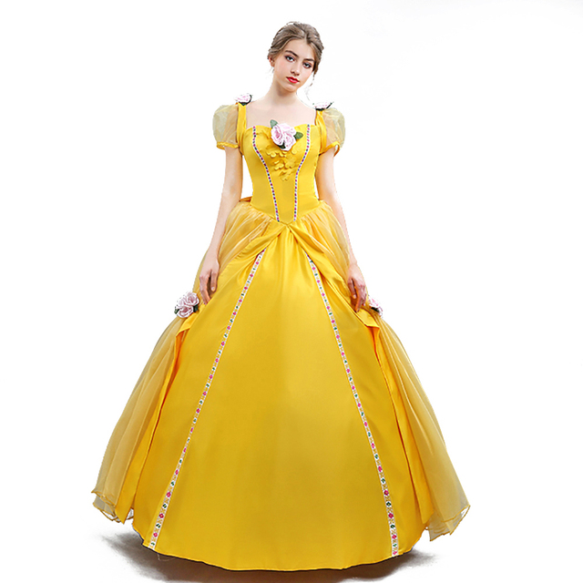 4bde64540b31d3 Adult Beauty and the Beast Princess Belle Enchanting Costume Deluxe Fairytale  Princess Dress Halloween Party Ball