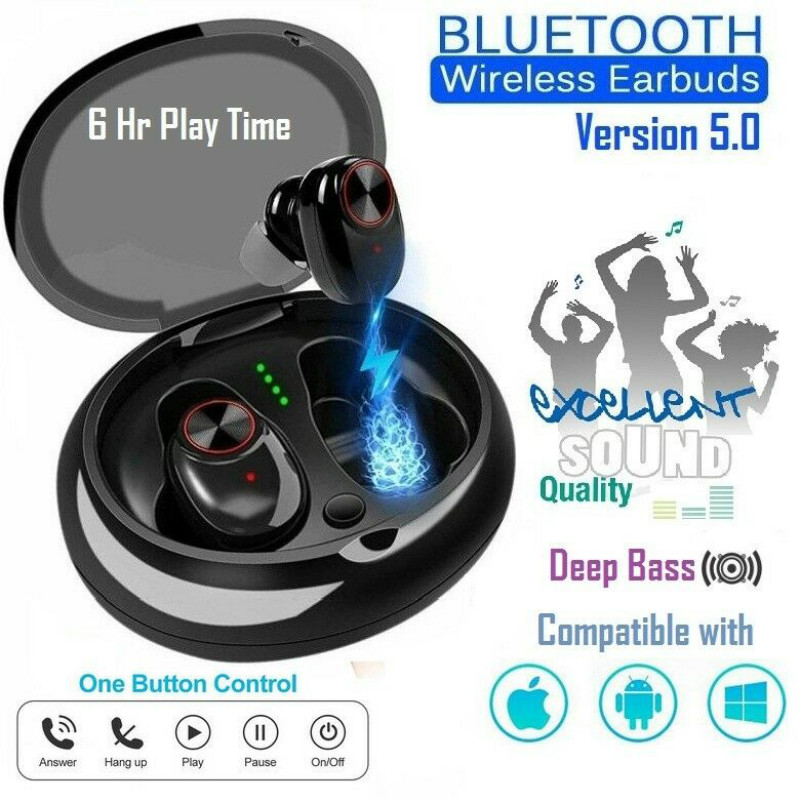 <font><b>TWS</b></font> Bluetooth V5.0 Earphone With Stereo Sound V5 True Wireless Earphone with Microphone Hands-free Calling Bluetooth Headphone image
