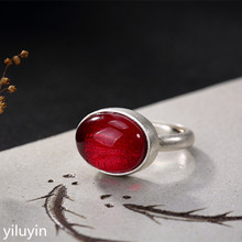 KJJEAXCMY Boutique jewelry S990 pure silver, high-grade red corundum matte, old open Sterling Silver Lady ring. matte silver