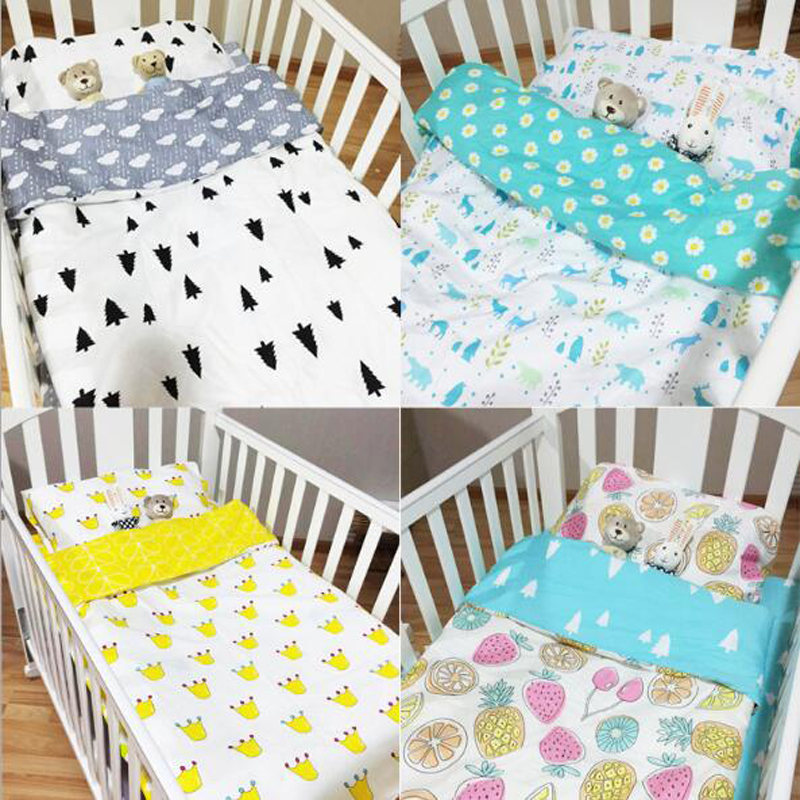 Hot Ins Crib Bed Linen Kit 100% Cotton Cartoon 3pcs Baby Bedding set Include Pillowcase+Bed Sheet+Duvet Cover Without Filling creative cotton and linen triangle black and white pillowcase without pillow inner