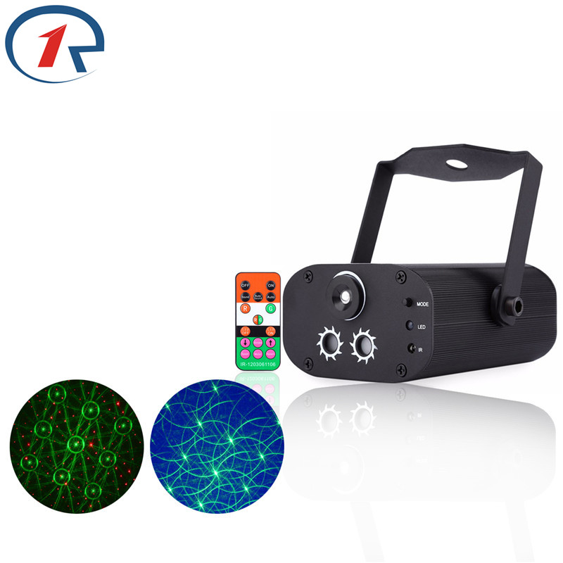 ZjRight IR Remote 12 Patterns Red Green Laser mix blue LED Stage Light Music control projection effect lighting for bar DJ disco
