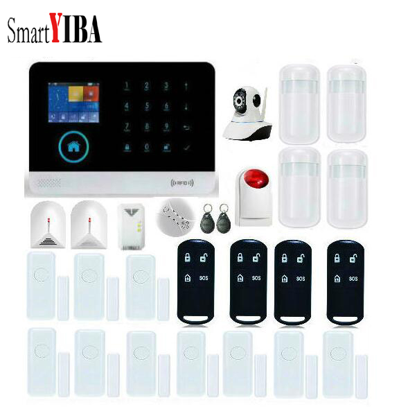 SmartYIBA Wireless Strobe Siren Video IP Camera Glass Break Sensor Gas Leak Alarm Kits For GSM WIFI Security Alarm Sytem
