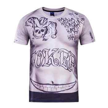 Camiseta ajustada de verano para hombres de escuadrón suicida Harley Quinn Joker Deadshot Camiseta de manga corta con estampado de tatuaje