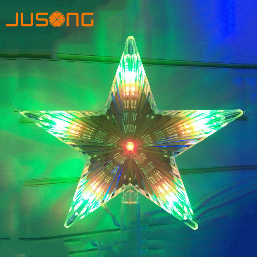 Jusong Christmas Tree Top Star Led String Indoor Fairy Lights Curtain Xmas Wedding Decoration Party Garden Holiday