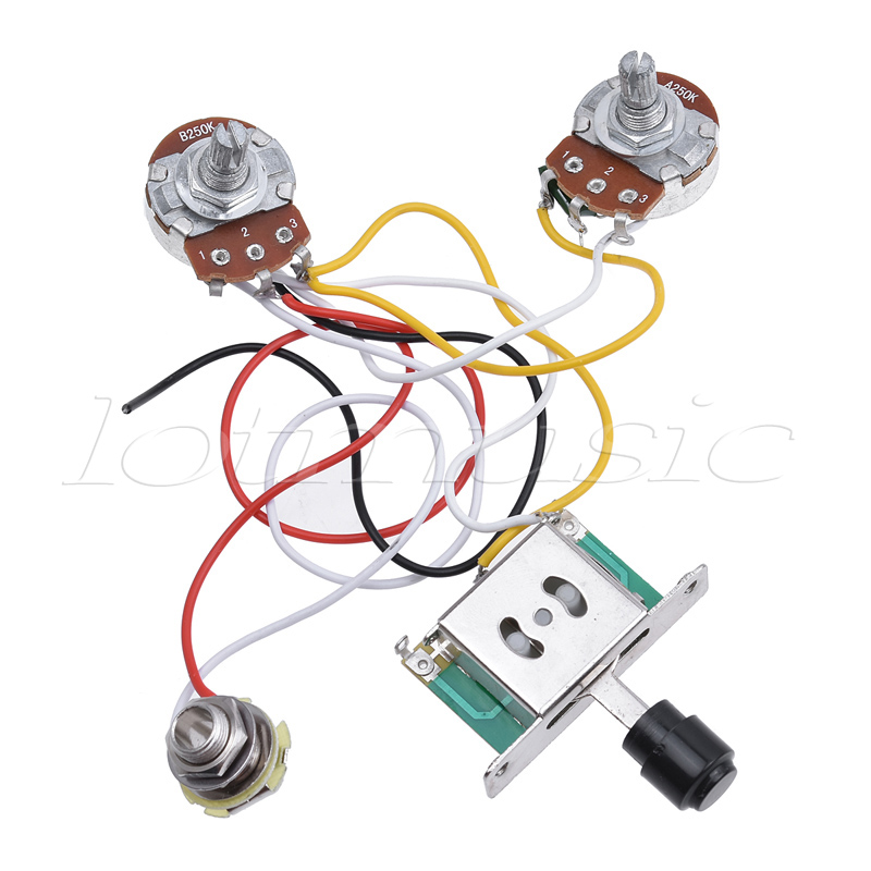 electric guitar prewired wiring harness kit for fender 2 humbuckers 1 volume 3 way switch switch 1 humbucker 2 single coil