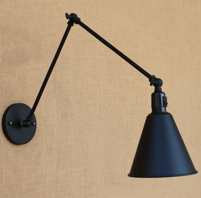 modern Adjustable Long Swing Arm Wall Light Fixture Edison Retro Vintage Wall Lamp Loft Style Industrial Wall Sconce with switch nordic loft creative loft milan industrial style modern bedroom study long arm living room villa copper bronze wall sconce lamp