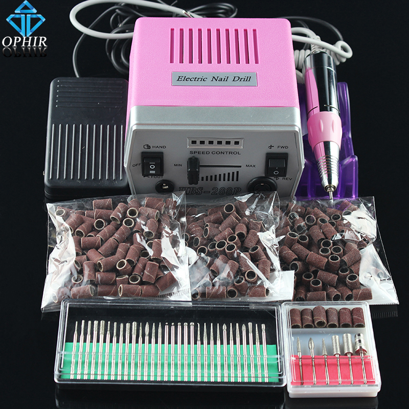 цена на OPHIR Nail Tool Electric Nail Drill Machine Kit Acrylic Nail Art Drill Pedicure Manicure Machine 30 Drill Bits+300 Sanding Bands