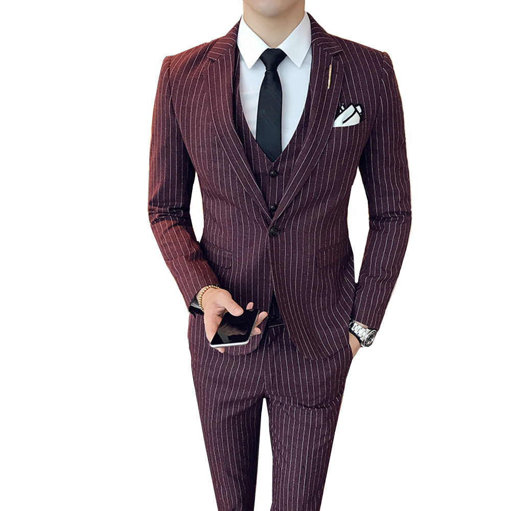 3e88343693a Men Suit 2018 Slim Fit Business Casual stripe Suits 3 Pieces Male High  Quality Formal Groom