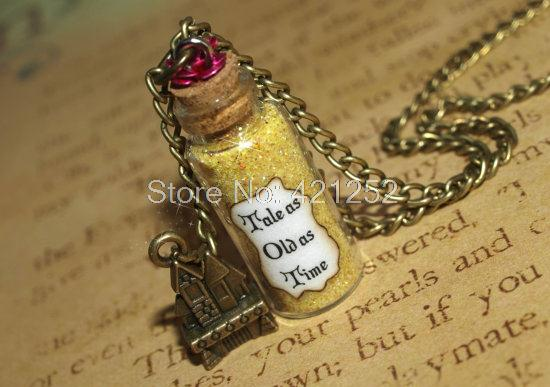 12pcs  Beauty and the Beast Tale as Old as Time Magical glass Bottle Necklace castle charm