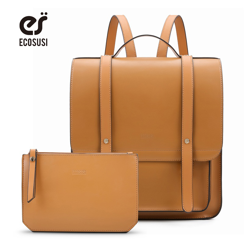 ECOSUSI New Fashion Womens Laptop Backpack PU Leather Satchel Bag Fit 14.7 Inch with Small Purse