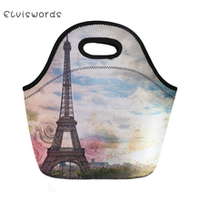 ELVISWORDS Eiffel Tower Printed Lunch Bag Lovely Neoprene Waterproof hand Box for Women Tote Girls Pinic Snacks Container
