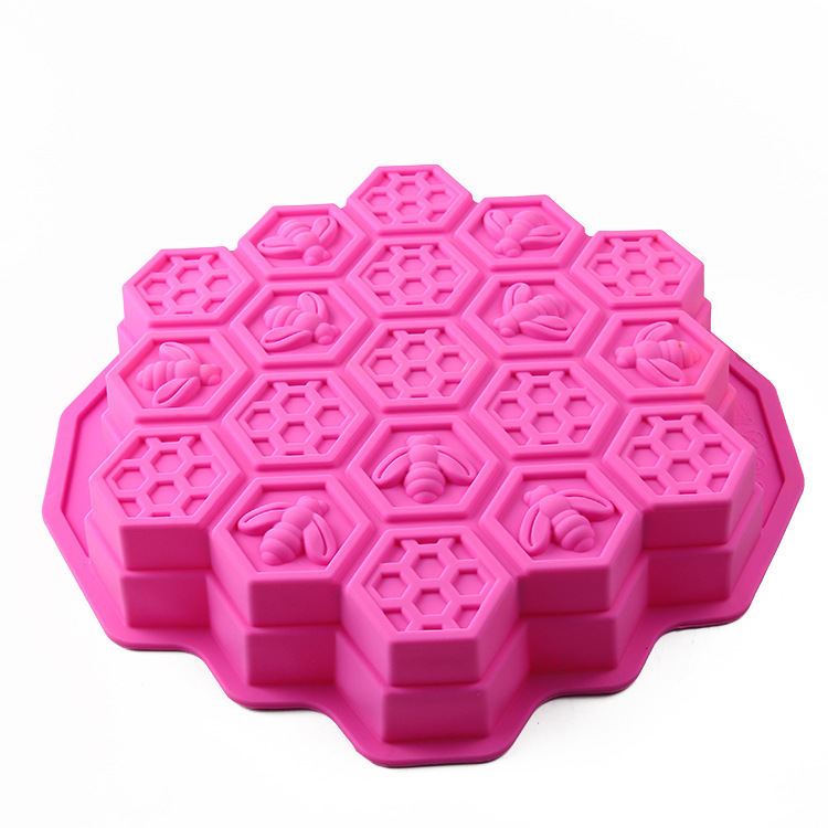 1PC Random Color Honey Comb Bees Mold Beeswax Silicone Pan Cake Mould Ice Jelly Chocolate DIY Decoration OK 0975