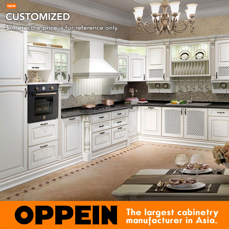 2016 New Design Classic Solid Wood Kitchen Cabinet New Top Sale Birch Solid Wood Kitchen Furniture OP14-007