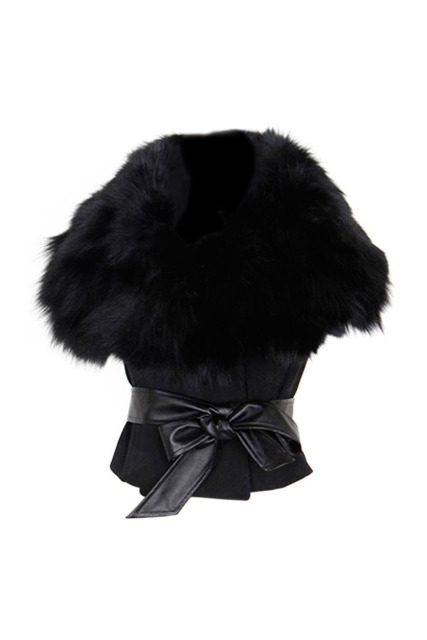 SAF-Women's Faux Fur Sunday Angora Yarns Coat Sleeveless Outerwear With Belt-black