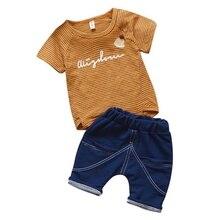 Newborn Baby Boy Clothes Stripe Fashion Baby Clothes Set 2PCS Boy T-shirt Summer Top Beach Denim Shorts T-shirt + Denim Shorts