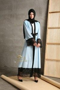Costura do laço cor sólida cardigan djellaba turco muçulmano roupas femininas casaco longo dubai moda de alta qualidade casaco de lã outwear