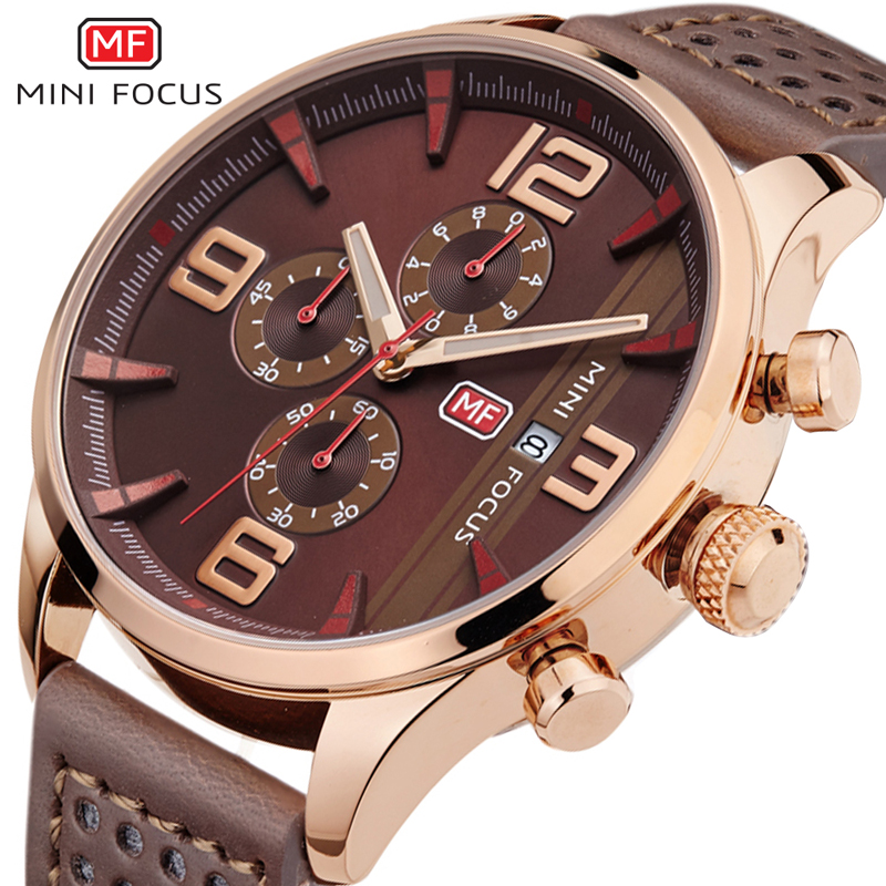 где купить MINI FOCUS Business Men's Watch Sub-dial Work Sport Watch Men Waterproof Quartz Watch Hour Date Male Clock 6 Hands Display Watch по лучшей цене