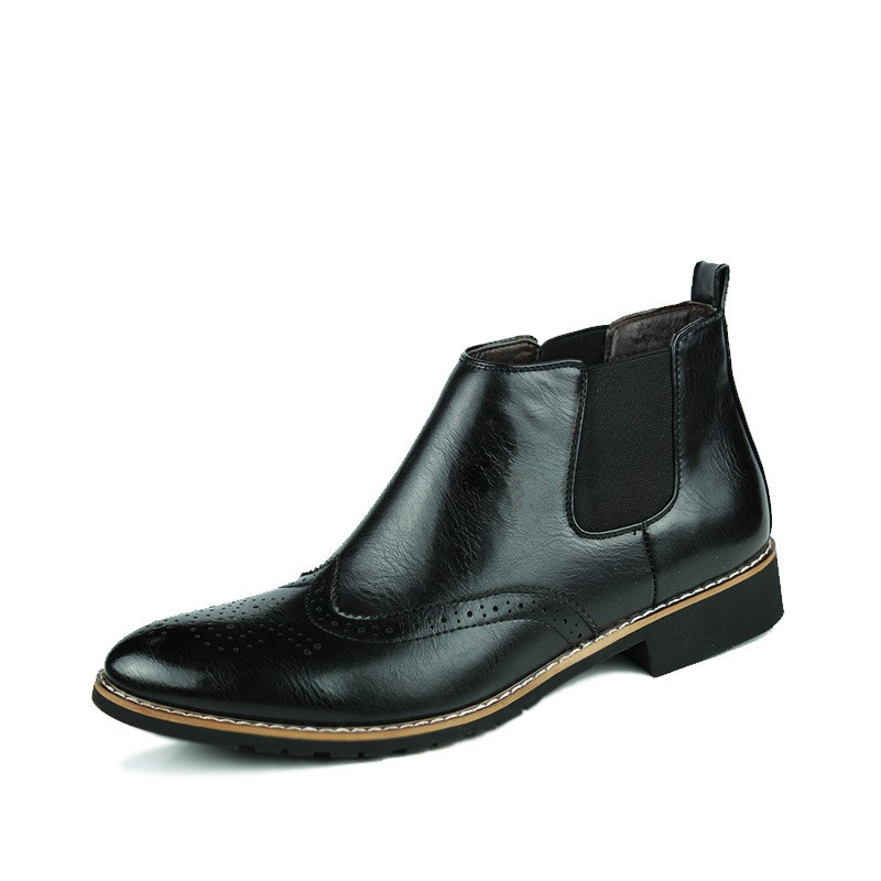 LOVE Spring Autumn Men\'s Chelsea Boots Casual Round Toe Brogue Leather Boots For Men Ankle Boots Square Heel Dress Shoes F107 (17)