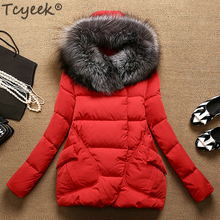 Tcyeek Зимний пуховик женский пуховик Корейская тонкая 90% утиный пух пальто женский толстый теплый натуральный Лисий мех с капюшоном верхняя одежда LWL1226