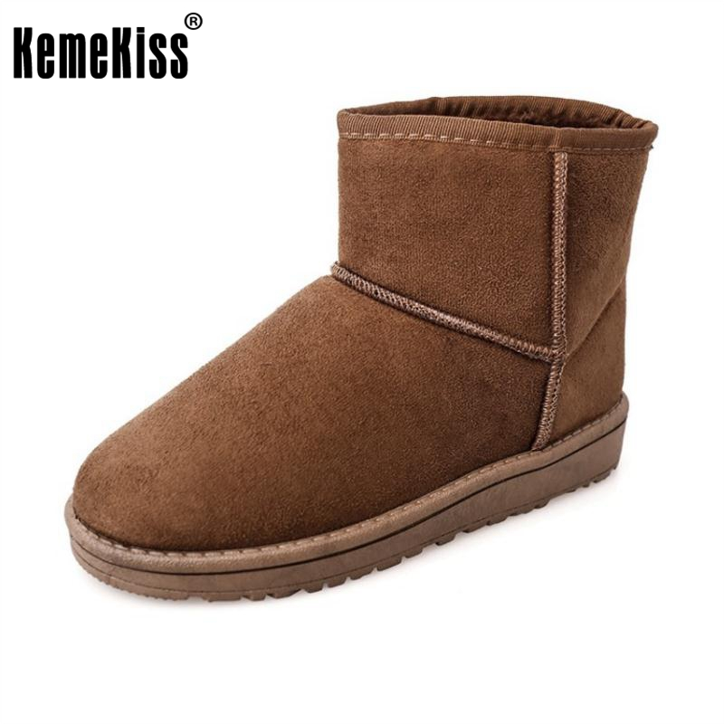 KemeKiss Women Mid Calf Flats Boots Warm Fur Half Short Boots Women For Cold Winter Shoes Snow Botas Women Footwear Size 36-40