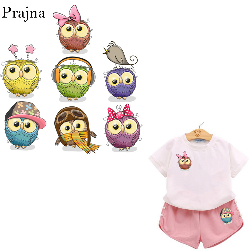 Prajna Ironing Transfer Patch Heat Transfer Vinyl Printed Iron On Transfers For Kids Clothes Baby Sticker Cartoon Owl Bird Patch