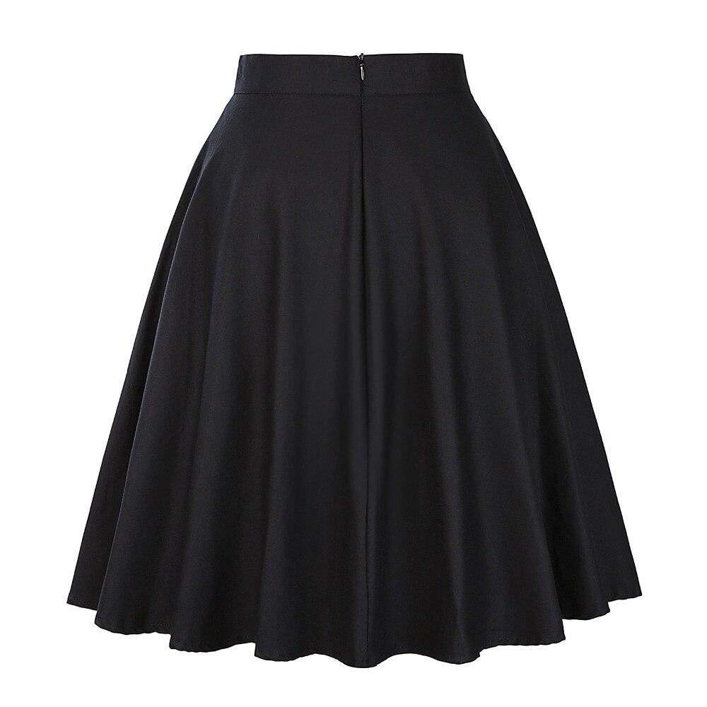 Image 4 - High Waist Runway Pleat Skirt Black Knee Length Flared Skirts Retro Vintage 50s Rockabilly Swing Skirts Women Faldas Saia Jupe-in Skirts from Women's Clothing