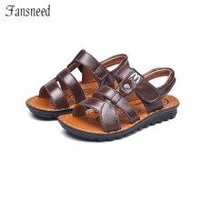 Children's sandals Fashion M alphabet boys new leather sandals summer sandals vocation suitable kids quality shoes
