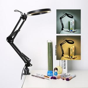 Image 5 - 5X USB Magnifying Glass with LED Light Flexible Table Clamp Third Hand Soldering/Reading/Jewelry Magnifier Desk Lamp Magnifier