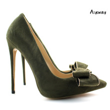 Aiyoway Elegant Women Ladies Bow Pointed Toe High Heel Pumps Evening Party Dress Shoes Green Faux Suede US Size 5-15
