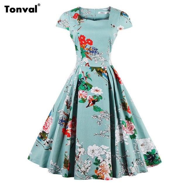 Tonval Elegant Dress Floral Vintage Women Plus Size S - 4XL Retro Dress Cap Sleeve Tunic Rockabilly Pleated Dresses