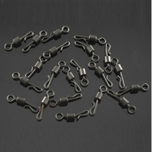 25Pcs/Lot Large Long Body Q-Shaped Black Color Quick Change Swivels For Carp Fishing Size 4# Fishing Terminal Tackle Accessory