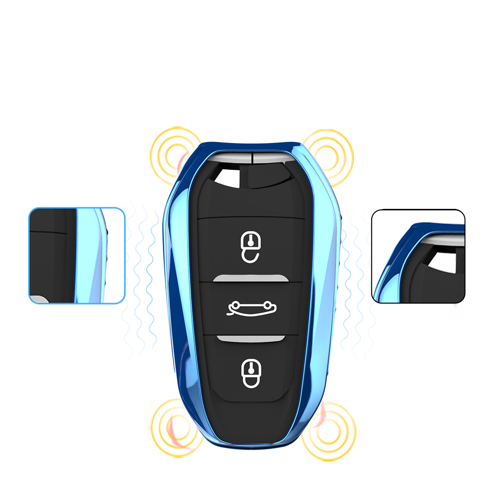 2018 New Bright Colorful Soft TPU Car Smart Key Cover Remote Key Case suitable for Citroen C4 C4L C6 C3-XR Car Key Chain Ring