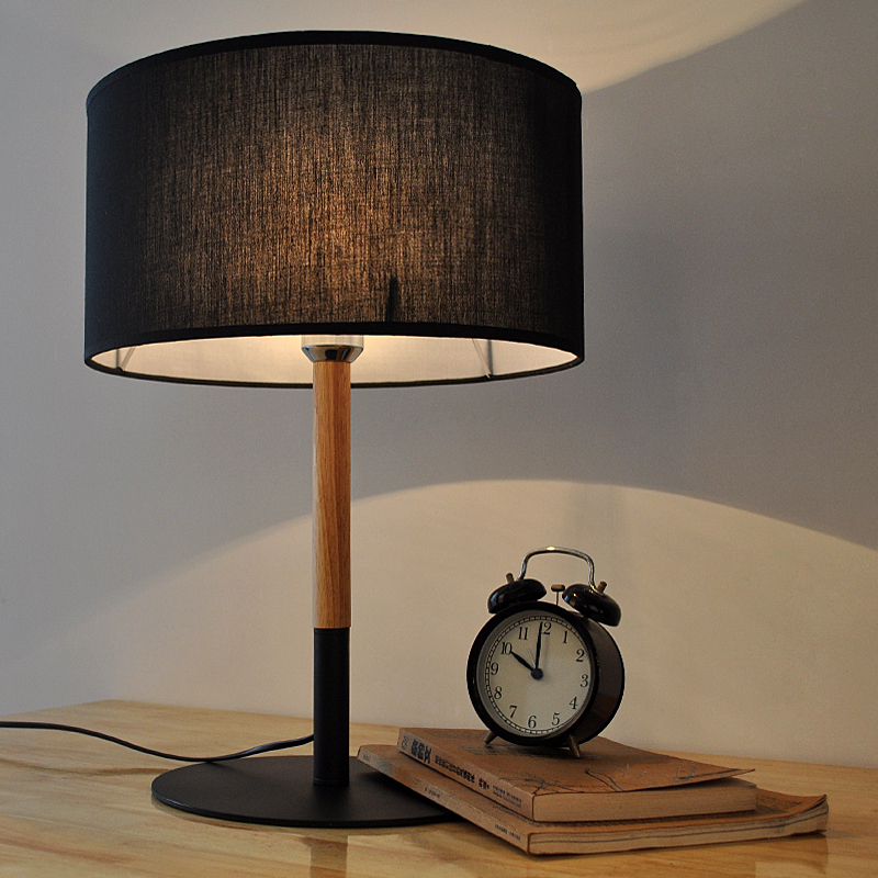 Retro Coffee Shop Table Lamp Wood Cloth Vintage Desk Lamp Bedroom Bar Table  Light Desk Light Black/White E27,90V 220V In Table Lamps From Lights U0026  Lighting ...