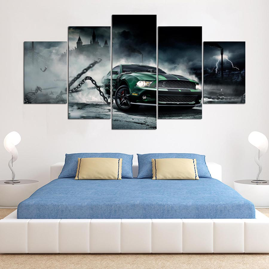 HD Wall Art Poster Pictures Printed Framed Home Decoration Canvas Modular 5 Panel Green Car For Living Room Cuadros Painting TYG
