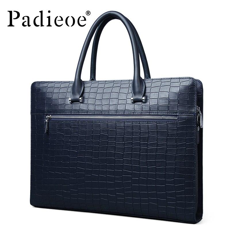 Padieoe, деловая брендовая мужская сумка, ts, модная мужская сумка из натуральной кожи, Мужской Жесткий портфель для документов, мужская сумка для ноутбука ts, сумка для мужчин - 4