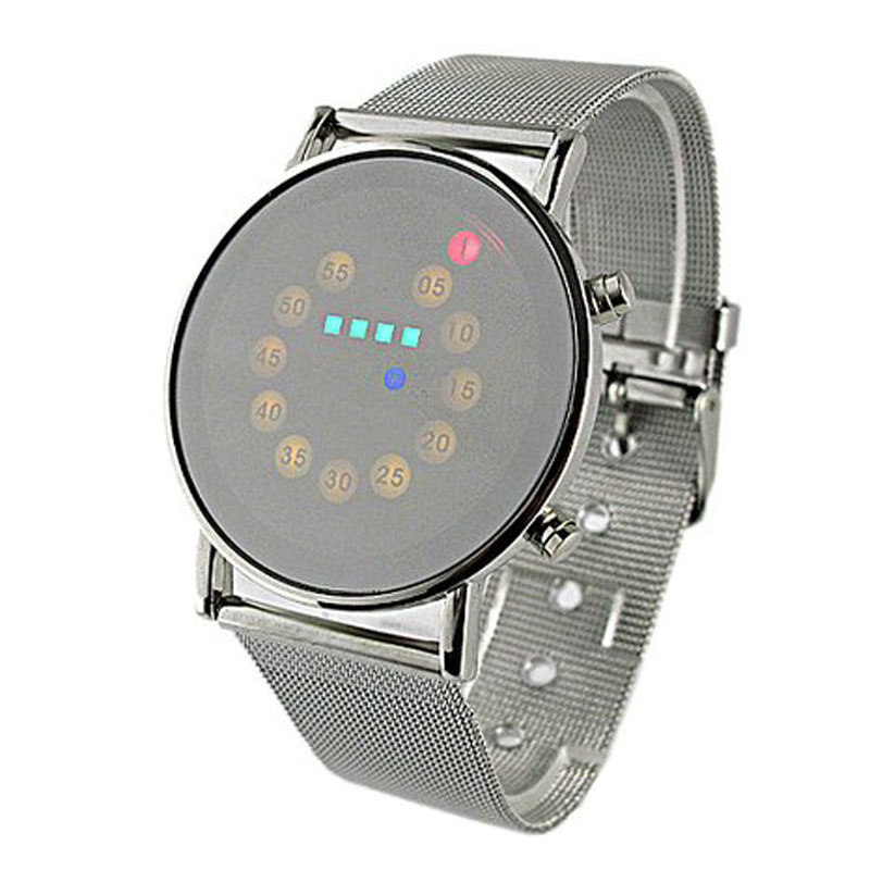Superior Red + Yellow + Green + Blue LED Light Stainless Steel Fashion Wrist Watch July4