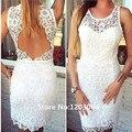 Encaje blanco corto 2016 nuevo estilo sin mangas de baile Kneelength Backless atractivo escote redondo hasta la sirena barato mujeres vestidos cóctel