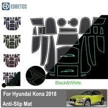 цена For Hyundai Kona 2018 2019 Gate slot mats Hyundai kona Car Anti Slip Mat, Non-slip Interior Door Pad Cup Holder 18pcs