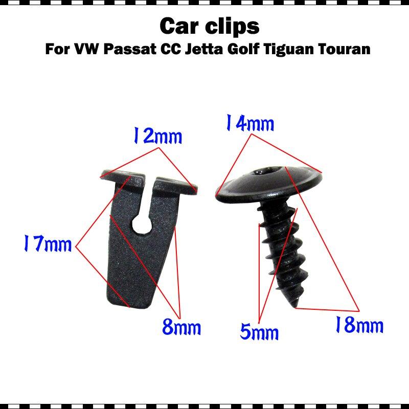 Fender Liner Mudguard Fastener Clips Screws For VW Passat B5 B6 B7 CC Golf MK6 Tiguan Touran Polo 10/20/50/100 Set