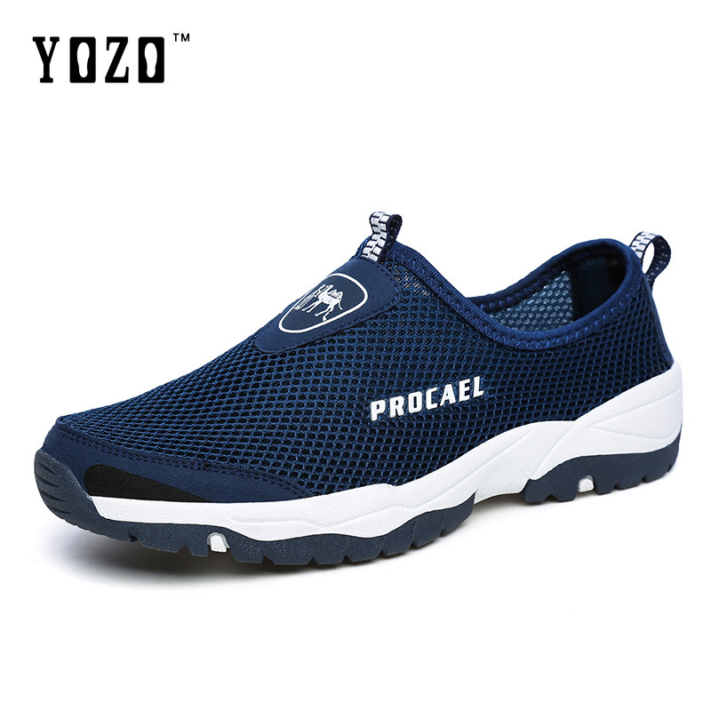 Men Hollow Out Mesh Shoes Comfortable Soft Casual Shoes Slip On Male Footwear Summer Cool Shoes summer men real leather casual slip on hollow out loafer mules open back slippers slides shoes