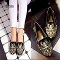 Koovan mujeres pisos nuevos 2017 mujeres de la manera zapato barroco estilo de la corte retro perla bordado vestido de las mujeres zapatos del barco zapatos casuales