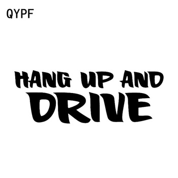 QYPF 16.2cm*5.8cm Hang Up And Drive Fashion Vinyl Windshield Car Sticker Decal Black Silver Accessories C15-1270 image